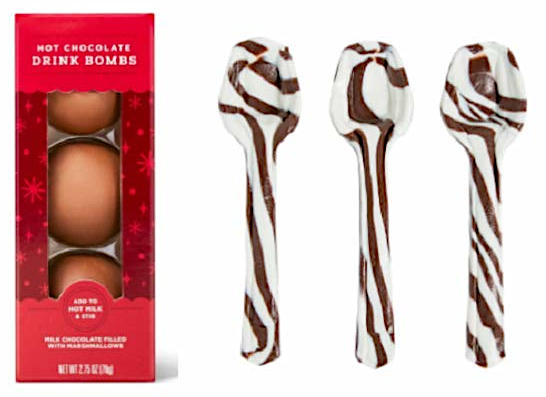 hot chocolate bombs and flavored spoons
