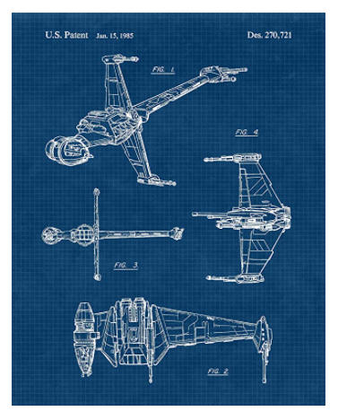 vintage style patent poster star wars